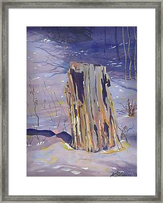 Stump In Winter Framed Print by David Gilmore