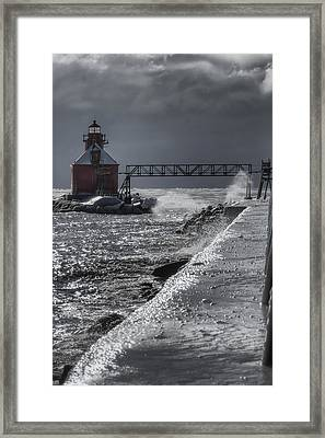 Sturgeon Bay After The Storm Framed Print by Joan Carroll
