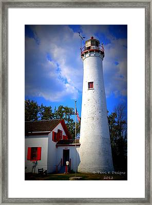 Sturgeon Point Lighthouse Michigan Framed Print by Terri K Designs