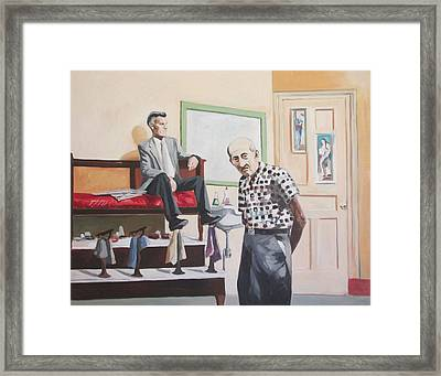 Framed Print featuring the painting Stuyvesant Barber Shop by Linda Novick