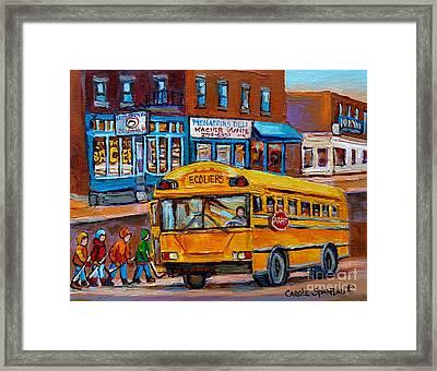 St.viateur Bagel And School Bus Montreal Urban City Scene Framed Print by Carole Spandau