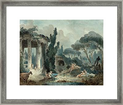 Style Of Hubert Robert, The Seesaw Framed Print by Litz Collection
