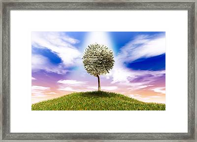 Stylised Money Tree American Dollar Notes On Grassy Hill Framed Print by Allan Swart