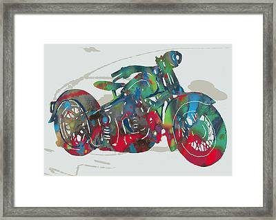 Stylised Motorcycle Art Sketch Poster Framed Print