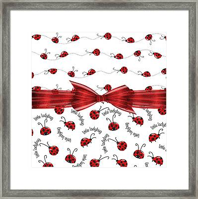 Stylish Ladybugs Framed Print by Debra  Miller