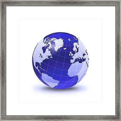 Stylized Earth Globe With Grid Framed Print