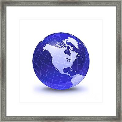 Stylized Earth Globe With Grid, Showing Framed Print