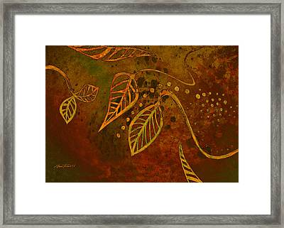 Stylized Leaves Abstract Art  Framed Print by Ann Powell