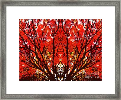 Stylized Maple Tree With Red And Orange Leaves Framed Print
