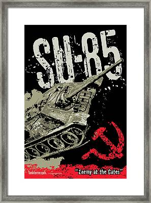 Su-85 Russian Tank Destroyer Framed Print by Philip Arena