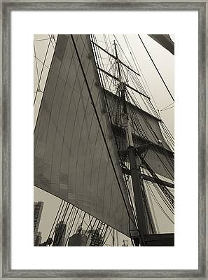 Suare And Triangle Black And White Sepia Framed Print