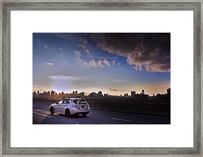 Subaru Impreza Wagon Wrx Sti Sunset Framed Print