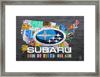 Subaru License Plate Map Sales Celebration Limited Edition 2013 Art Framed Print by Design Turnpike