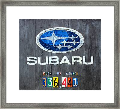 Subaru Logo Art Celebrating 2012 Usa Sales Totals Framed Print by Design Turnpike