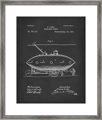 Submarine By Lake 1897 Patent Art Black Framed Print
