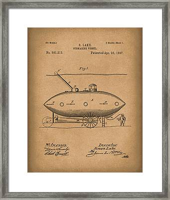 Submarine By Lake 1897 Patent Art Brown Framed Print by Prior Art Design
