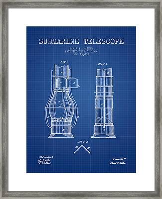 Submarine Telescope Patent From 1864 - Blueprint Framed Print