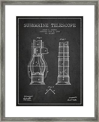 Submarine Telescope Patent From 1864 - Dark Framed Print