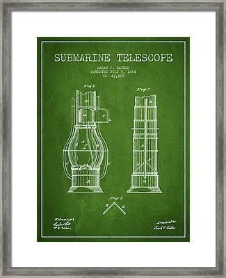 Submarine Telescope Patent From 1864 - Green Framed Print