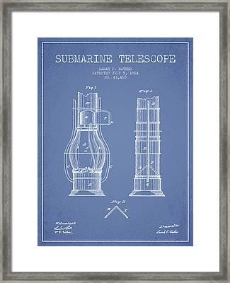 Submarine Telescope Patent From 1864 - Light Blue Framed Print