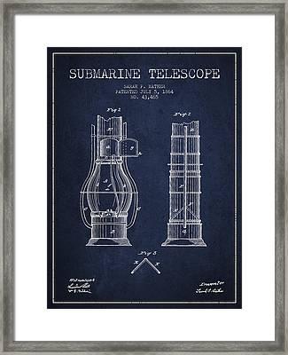 Submarine Telescope Patent From 1864 - Navy Blue Framed Print