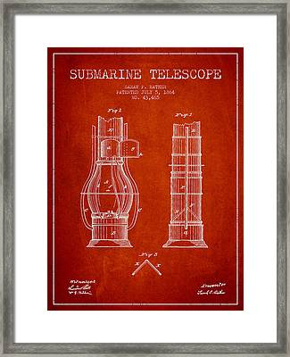 Submarine Telescope Patent From 1864 - Red Framed Print