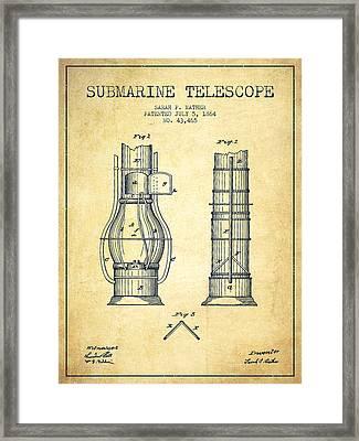 Submarine Telescope Patent From 1864 - Vintage Framed Print