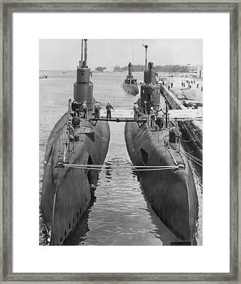 Submarines At Port Framed Print by Retro Images Archive