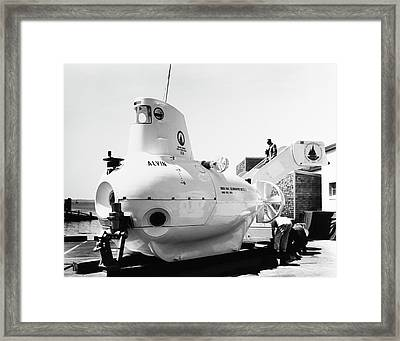 Submersible Alvin At Woods Hole Framed Print by Us Navy