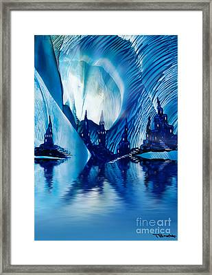 Subterranean Castles Wax Painting In Blue Framed Print by Simon Bratt Photography LRPS
