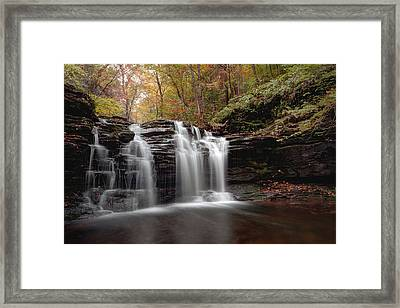 Subtle Fall Hues At Wyandot Falls Framed Print by Gene Walls