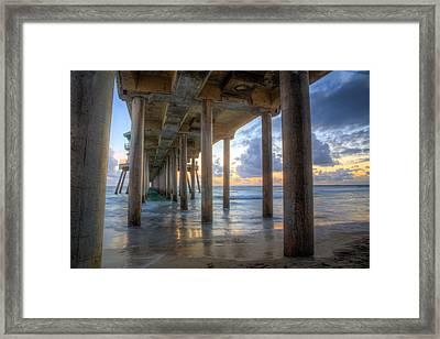 Subtle Pier Sunset Framed Print