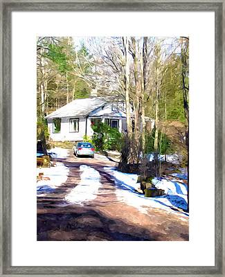 Suburban Home Covered With Snow Framed Print by Lanjee Chee