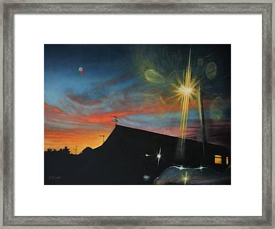 Suburban Sunset Oil On Canvas Framed Print