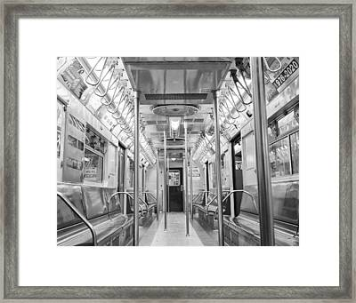 Framed Print featuring the photograph New York City - Subway Car by Dave Beckerman