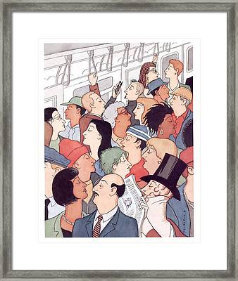 Subway Riders All Resemble Eustace Tilley Framed Print