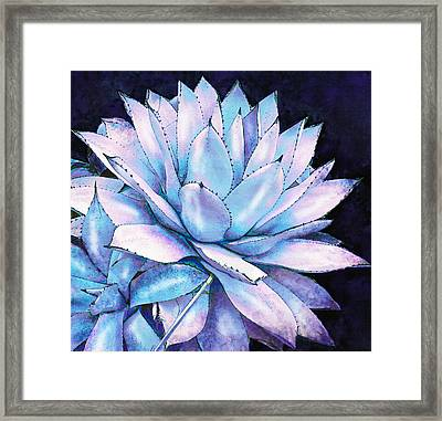 Framed Print featuring the digital art Succulent In Blue And Purple by Jane Schnetlage