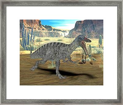 Suchomimus Dinosaur Framed Print by Friedrich Saurer