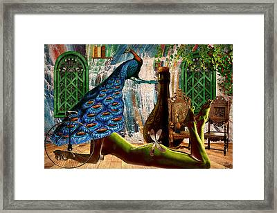 Framed Print featuring the painting Suck My Peacock by Ally  White
