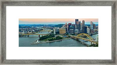 Pink Over The Pittsburgh Skyline Framed Print by Adam Jewell