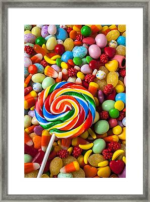 Sucker With Pile Of Candy Framed Print
