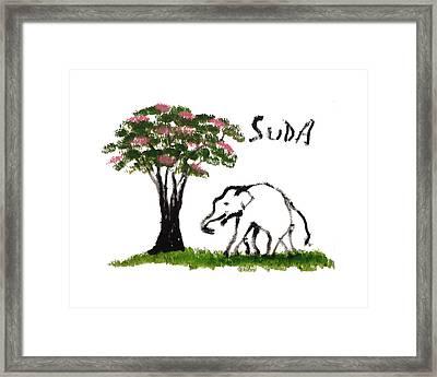 Print - Elephant Paintings - Just Me Pink Version Framed Print