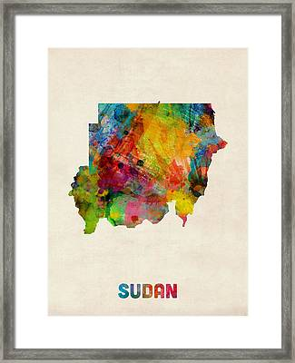 Sudan Watercolor Map Framed Print by Michael Tompsett