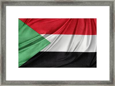 Sudanese Flag Framed Print by Les Cunliffe