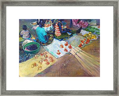 Sudanese Marketplace Framed Print by Margaret Anderson
