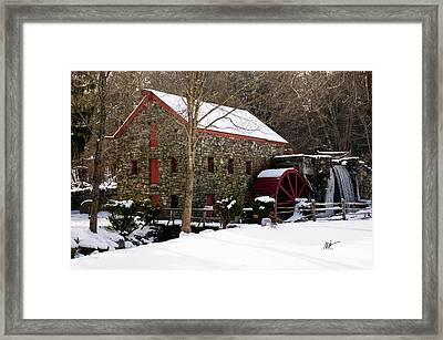 Sudbury Grist Mill In Winter Framed Print by Mark Valentine