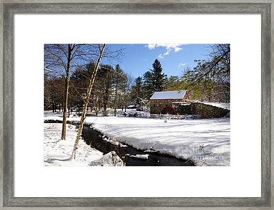 Sudbury - Grist Mill Winter Creek Framed Print by Mark Valentine