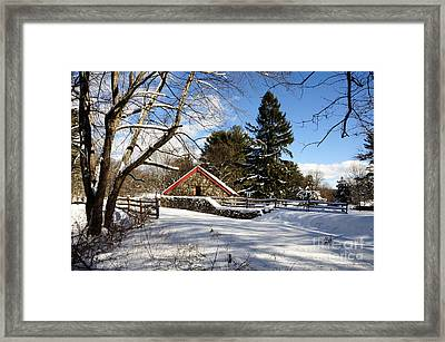 Sudbury - Grist Mill Winter Framed Print by Mark Valentine