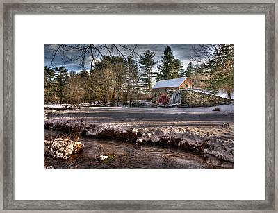 Sudbury Winter Grist Mill And River Framed Print by Mark Valentine