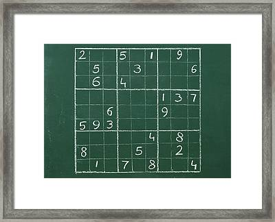 Sudoku On A Chalkboard Framed Print
